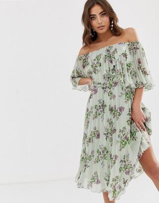 Asos Design DESIGN pleated bandeau midi dress with double layer-Multi