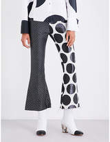 Marques Almeida Polka-dot flared jacquard trousers