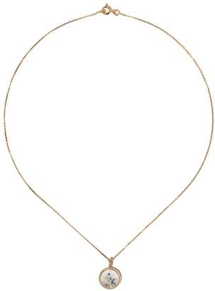 Aurélie Bidermann 18kt yellow gold sapphire Chivor mini medallion necklace