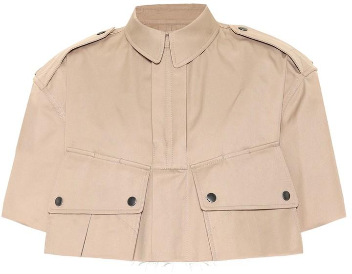 Maison Margiela Cropped cotton-twill cape jacket