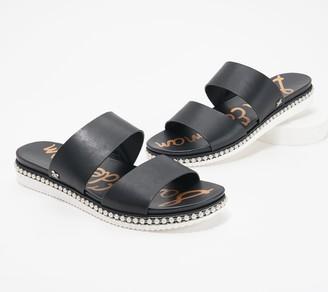 Sam Edelman Leather Double Strap Slide Sandals - Asha