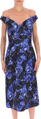 Prada Floral Print Off Shoulder Midi Dress