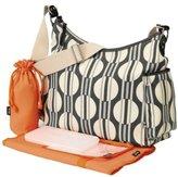 OiOi Hobo Diaper Bag w/Tangarine Lining - Dot/Stripe and Charcoal