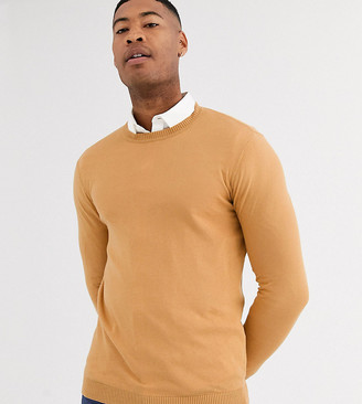 Asos Design DESIGN Tall cotton sweater in camel-Brown