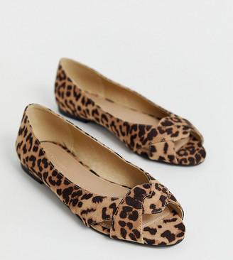 ASOS DESIGN Wide Fit Leadership peeptoe ballet flats in leopard
