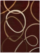 Tribeca Heat Set Circles 5-Foot 3-Inch x 7-Foot 2-Inch Area Rug in Red