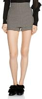 Maje Ilia Front-Overlay Houndstooth Mini Shorts