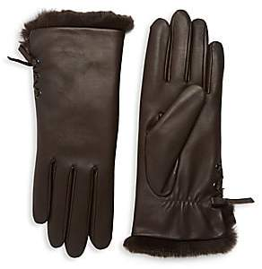 Agnelle Women's Aliette Rabbit Fur-Lined Leather Gloves
