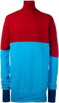 J.W.Anderson roll neck bicolour jumper - men - Polyamide/Virgin Wool/Viscose - S