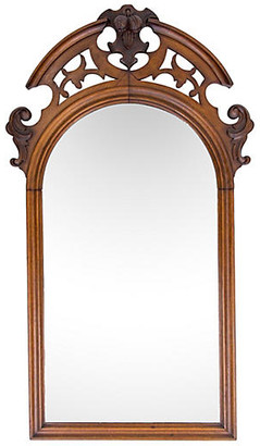 One Kings Lane Vintage Antique Arched Mirror w Carved Pediment - Janney's Collection - brown/dark brown