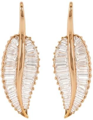 Anita Ko 18kt Rose Gold Large Palm Leaf Diamond Drop Earrings