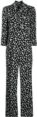 Rixo Floral-Print Neck-Tie Jumpsuit