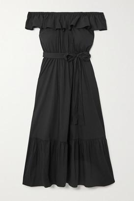 MICHAEL Michael Kors Off-the-shoulder Belted Cotton-blend Poplin Midi Dress - Black