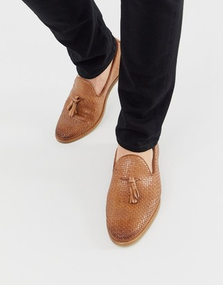 Walk London Chris woven tassel loafers in tan
