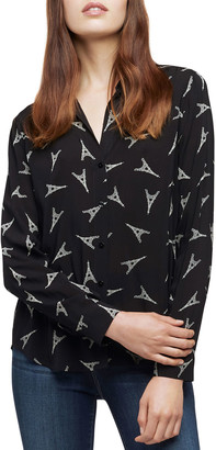 L'Agence Holly Eiffel Tower Printed Viscose Shirt