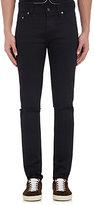 Saint Laurent Men's Distressed Skinny Jeans-BLACK