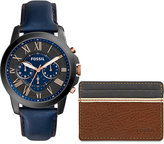 Fossil Men's Chronograph Grant Blue Leather Strap Watch & Brown/Gray Leather Card Wallet Box Set 44mm FS5252SET