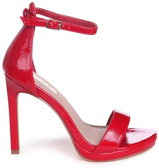 Linzi Gabriella Red Patent Barely There Stiletto Heels With Slight Platform