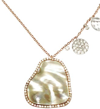 Meira T Rose Gold Mother of Pearl Necklace Diamonds Necklace