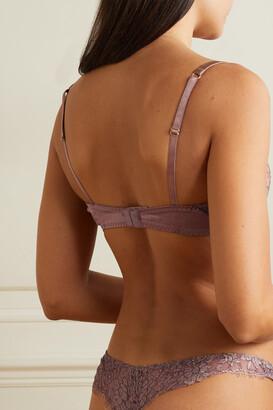 Coco de Mer Gai Satin-trimmed Metallic Lace Underwired Balconette Bra - Brown