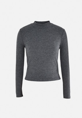 Missguided Grey Rib High Neck Long Sleeve Top