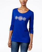 Karen Scott Petite Embellished Snowflakes Graphic Top, Only at Macy's