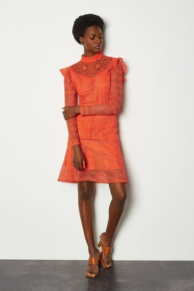 Karen Millen Chemical Lace Ruffle Dress