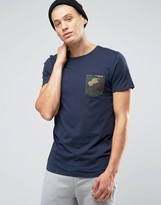 Jack and Jones T-Shirt with Contrast Camo Pocket