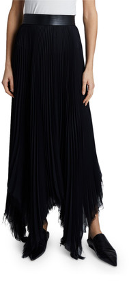 Loewe Pleated Asymmetric Midi Skirt with Leather Trim