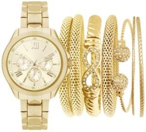 Jessica Carlyle Women's Gold-Tone Bracelet Watch 32mm Gift Set
