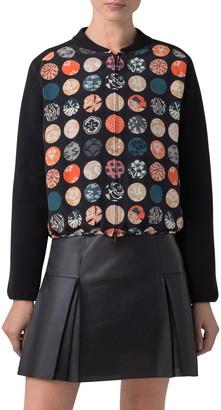 Akris Punto Wood Block Dot Print Silk Front Stretch Wool Cardigan
