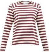 Ganni Striped Cotton-jersey Top - Womens - White Multi