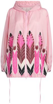Valentino Pop Feathers Print Hooded Jacket
