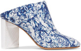 Maison Margiela Floral-print Leather Mules - Blue