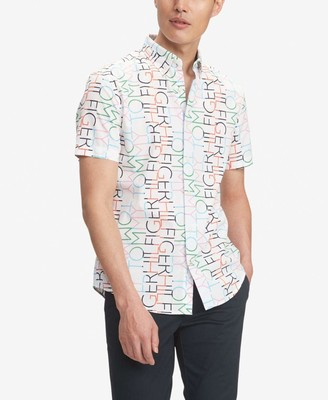 Tommy Hilfiger Men's Short Sleeve Button Down Shirt in Custom Fit