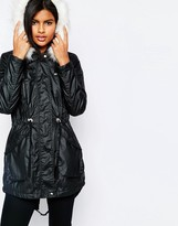 Vero Moda Short Padded Jacket With Faux Fur Hood