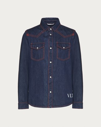 Valentino Vltn Denim Shirt Man Navy Cotton 100% 44