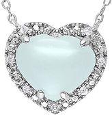 JCPenney Milky Aquamarine & 1/10 CT. T.W. Diamond Heart Pendant