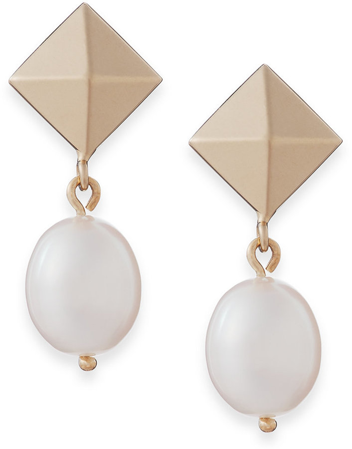 Cultured Freshwater Pearl and Pyramid Drop Earrings in 14k Gold