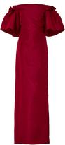 Oscar de la Renta Off-The-Shoulder Silk Gown