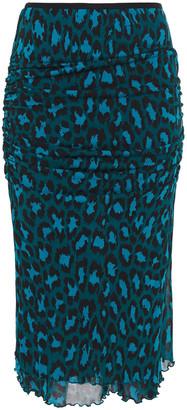 Diane von Furstenberg Ruched Leopard-print Stretch-jersey Midi Skirt