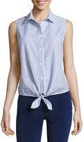 Liz Claiborne Sleeveless Button-Front Shirt-Petites