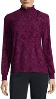 Liz Claiborne Midnight Garden Collection Sleeveless Mock Neck T-Shirt-Womens