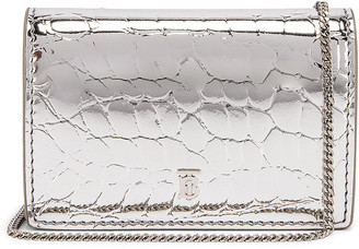 Burberry Jessie Metallic Embossed Croc Bag in Silver | FWRD