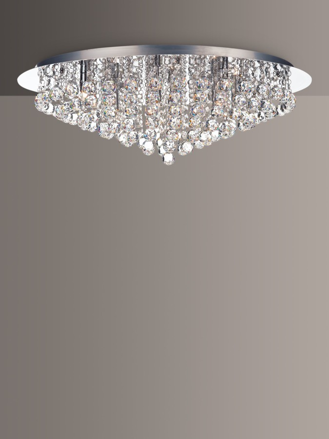 Där Cordelia Crystal Chandelier Ceiling Light, ClearPolished Chrome
