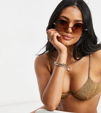 South Beach exaggerated wire bikini top in gold metallic