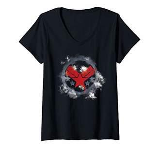 Marvel Womens Avengers Endgame War Machine Spray Paint Logo V-Neck T-Shirt