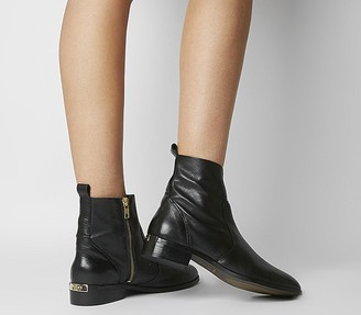 Office Ashleigh Flat Ankle Boots Black Leather With Branding
