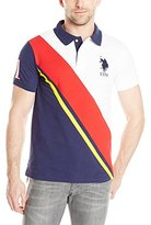U.S. Polo Assn. Men's Diagonal Striped Color Block Slim Fit Pique Polo Shirt