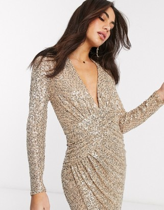 Goddiva V neck sequin maxi dress in gold